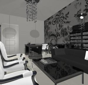 Дизайн интерьера дома в минималистическом, черно-белом стиле.