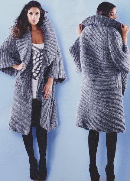 Пальто вязаное спицами модели