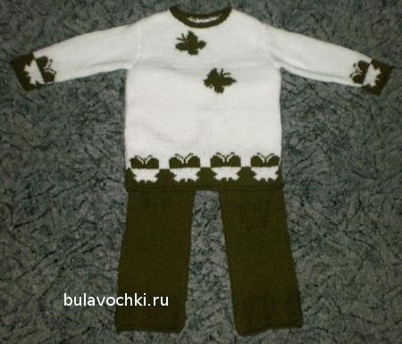 Детские вязаные штаны и свитер
