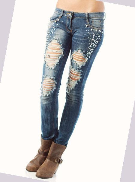 женские джинсы с дырками фото