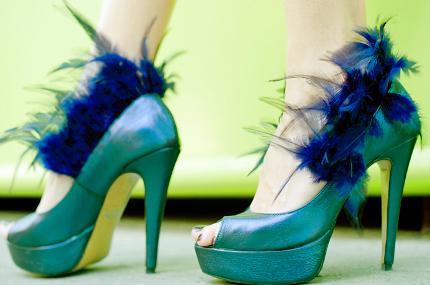 модные туфли 2014 весна-лето-осень с перьями