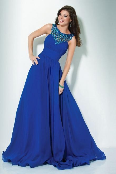 Темно-синие платья в пол