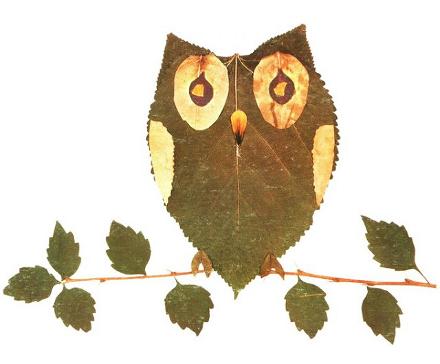 Сова из листьев своими руками на тему осень