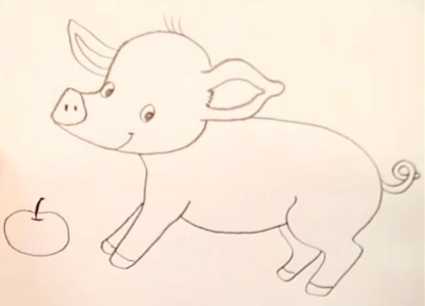 рисунок свинья с яблоком