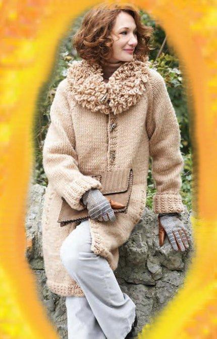 вязаное пальто, фото