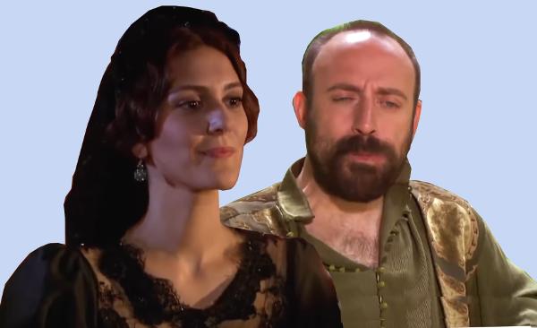 Халит Эргенч (султан Сулейман) и Бергюзар Корель (Моника Гритти)