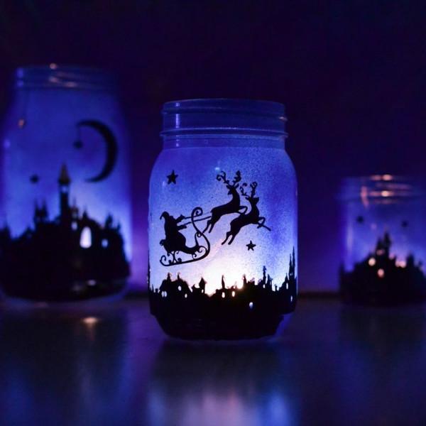 Новогодний светильник из банки
