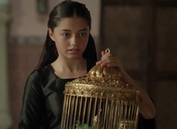 Айше Хюмашах и клетка с попугаями