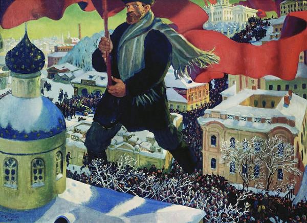 М.Б. Кустодиев. Картина «Большевик». 1920 г.